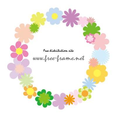 花のイラストを使った丸型フレーム