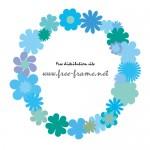 青系の花のイラストで囲った丸いフレーム枠