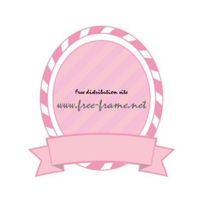 ピンクのリボン付きオーバルフレーム