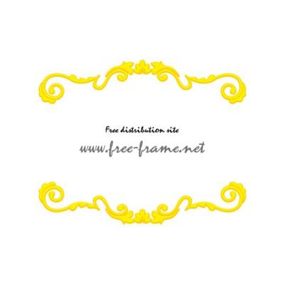 黄色の上下枠・フレームデザイン素材