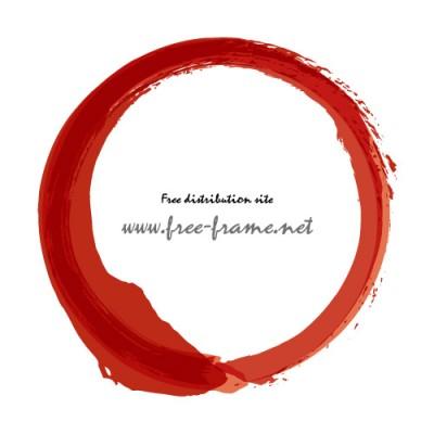 赤い墨で書かれた丸のフレーム素材