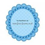 青色のオーバルフレーム素材