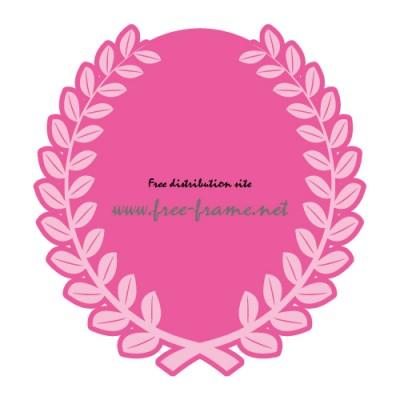 草に囲まれたピンク色の楕円オーバル・枠