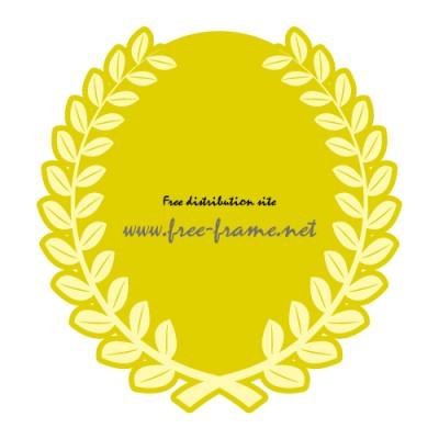 草に囲まれた黄色の楕円オーバル・枠