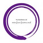 毛筆で書かれた紫色の二重丸枠フレーム