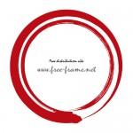 毛筆で書かれた赤色の二重丸枠フレーム素材