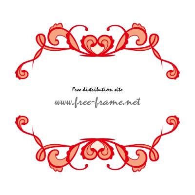 赤のハートが飾られた可愛らしい上下フレーム素材