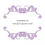 紫ベースのハートが飾られた可愛らしい上下フレーム