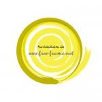 黄色の筆デザインフレーム素材