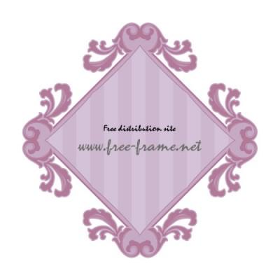 紫色の欧風スクェアフレーム・枠素材