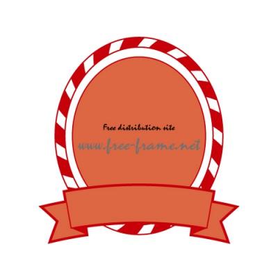 赤色の帯付きオーバル・枠