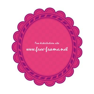 紫とピンク色の楕円オーバル・枠
