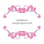 ピンクのハートが入った可愛らしい上下フレーム