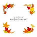 秋らしい色づいた葉っぱのイラスト・コーナーフレーム