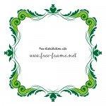 ハートの入った緑色のクラシックな四角フレーム・枠素材