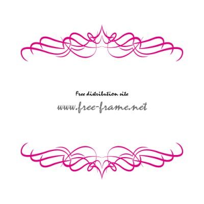 ピンク色のやわらかなラインが重なるの上下・枠