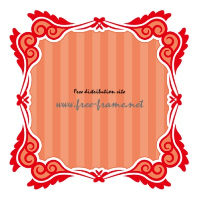 渦のイラストが入った赤色の正方形フレーム