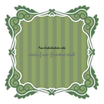 渦のイラストが入った和的な緑色の正方形フレーム