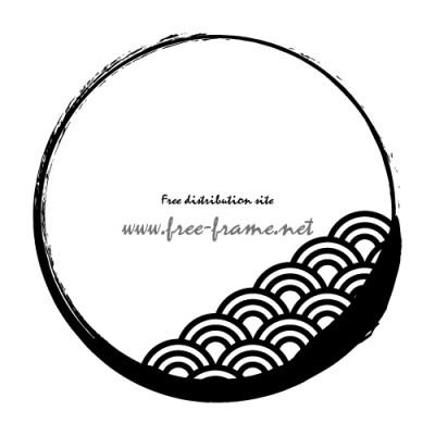 青海波の模様が入った円形フレーム