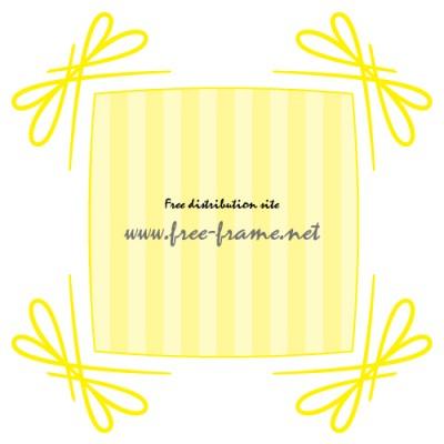 黄色いリボンのようなの四隅・角枠フレーム