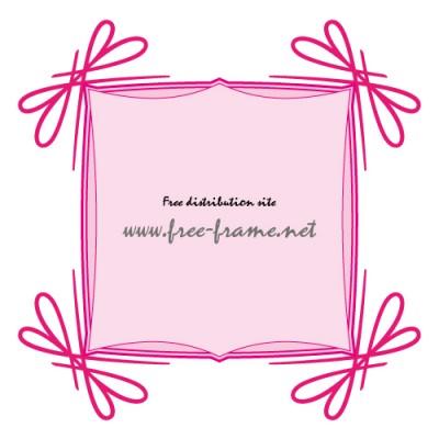 ピンク色のリボンのようなアクセントが四隅にある枠フレーム
