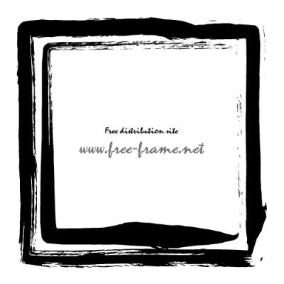 黒い墨の筆で書かれた二重の四角枠フレーム