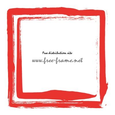 朱色の墨の筆で書かれた二重の四角枠フレーム