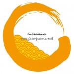 青海波の模様が入った橙色の毛筆・円形フレーム