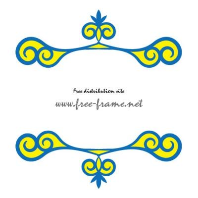 青と黄色の渦のイラストの入った、上下フレーム
