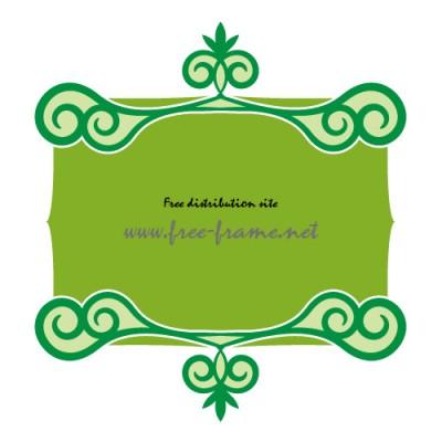緑色の渦のイラストの入った、上下フレーム