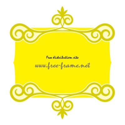 黄色の渦のイラストの入った、上下フレーム