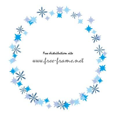 青い星形のモチーフが散らばる円形フレーム・枠