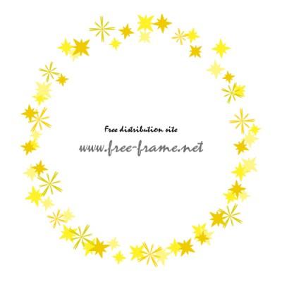 黄色い星形のモチーフが散らばる円形フレーム・枠