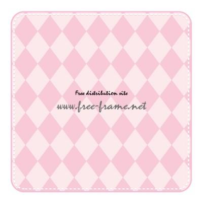 ピンク色の角枠四角形フレーム・枠素材