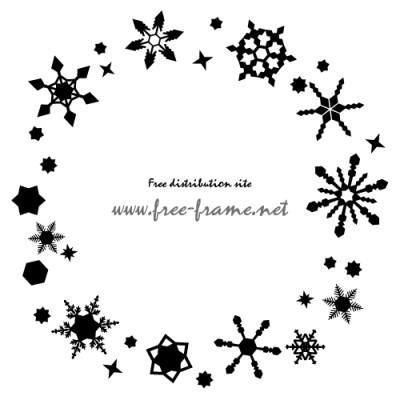雪の結晶が円形状に散らばったフレーム・枠