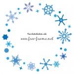 青色の雪の結晶が円形状に散らばったフレーム・枠素材