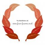 紅葉した葉っぱのイラストでできた円形枠フレーム