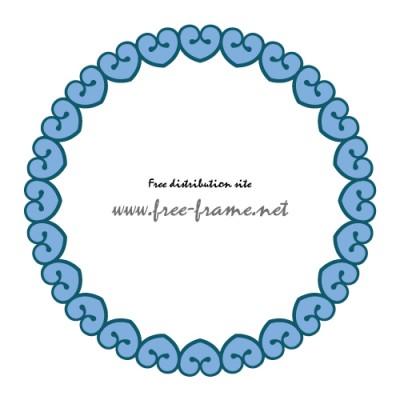 青色のハートのイラストが並んだ円形枠フレーム