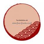 青海波の模様が入った赤い毛筆丸枠フレーム