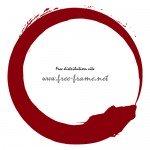 赤色の毛筆円形枠フレーム