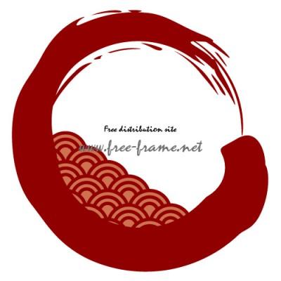青海波の模様が入った赤色の毛筆・円形フレーム