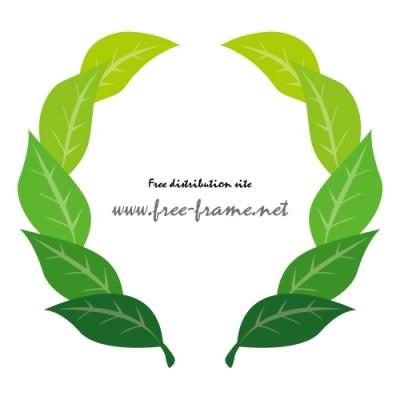 緑々しい葉っぱのイラストでできた円形枠フレーム