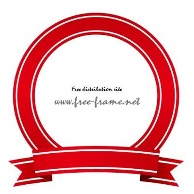 赤いリボンイラストの円形フレーム・枠