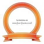 オレンジ色のリボンイラストの円形フレーム・枠