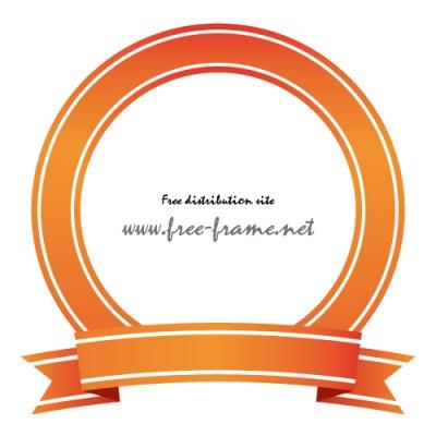 オレンジ色のリボンイラストの円形フレーム・枠・素材