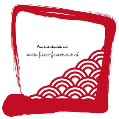 赤い筆ブラシの四角フレーム・枠