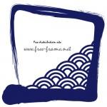 紺色の筆ブラシの四角フレーム・枠