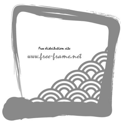 灰色の筆ブラシの四角フレーム・枠
