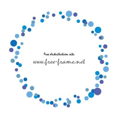 青色の様々なドットが集まった円形フレーム・枠