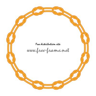 本結びで繋がれた円形フレーム・枠